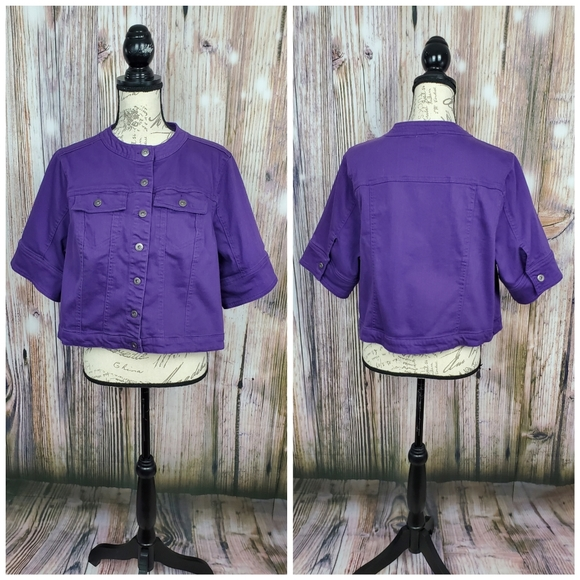 One World Purple Denim Elbow Sleeve Cropped Jacket